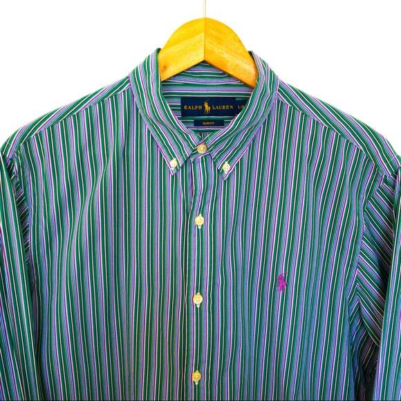 Polo Ralph Lauren Men Shirt Size L Green Blue